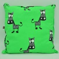 grünes KinderKissen mit Zebras