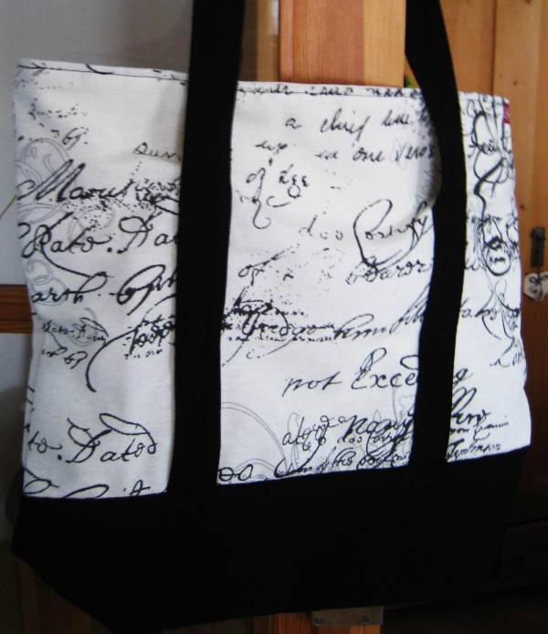 Einkaufstasche schwarz beige
