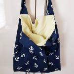 blaue Stofftasche mit Anker