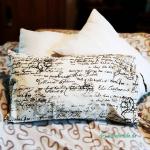 Kissenbezug mit Schriftzeichen