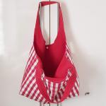 rot weiss karierte Einkaufstasche