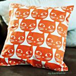 orange Kissenbezug Katzen